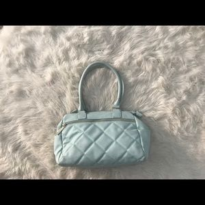 Baby blue quilted diaper bag